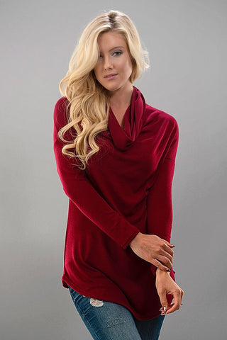 Coffee Date Cowl Neck Top - Burgundy - Blue Chic Boutique  - 1