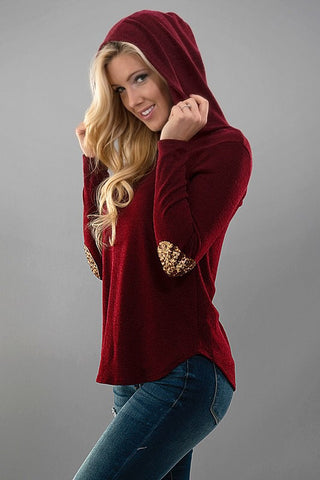 Sequined Elbow Patch Hoodie - Burgundy - Blue Chic Boutique  - 2