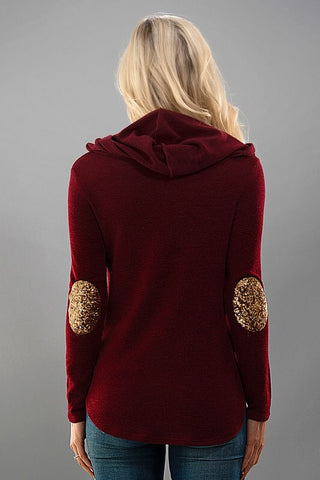 Sequined Elbow Patch Hoodie - Burgundy - Blue Chic Boutique  - 3
