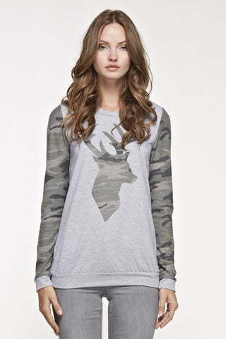 Camo Deer Sweatshirt - Light Gray - Blue Chic Boutique  - 2