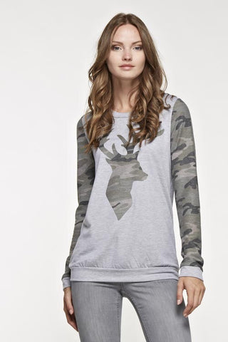 Camo Deer Sweatshirt - Light Gray - Blue Chic Boutique  - 3