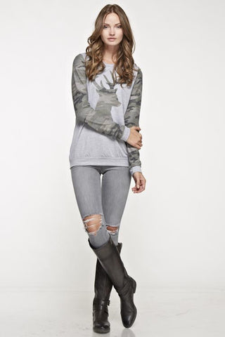 Camo Deer Sweatshirt - Light Gray - Blue Chic Boutique  - 1