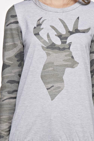 Camo Deer Sweatshirt - Light Gray - Blue Chic Boutique  - 4