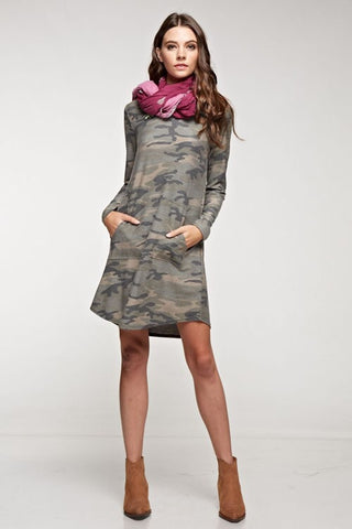 Camo Dress with Pockets - Blue Chic Boutique  - 1