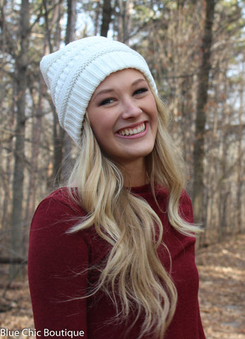 Striped Cable Knit Beanie - 6 colors - Blue Chic Boutique  - 3