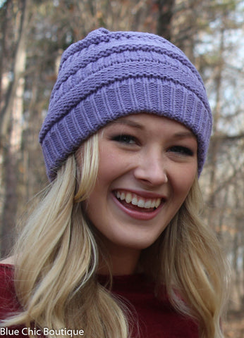 Striped Cable Knit Beanie - 6 colors - Blue Chic Boutique  - 2