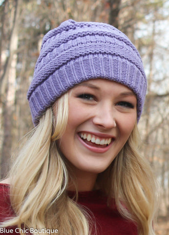 Striped Cable Knit Beanie - 6 colors - Blue Chic Boutique  - 1