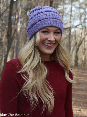 Striped Cable Knit Beanie - 6 colors - Blue Chic Boutique  - 4