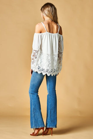 Lovely Lace Off Shoulder Top with Straps - White