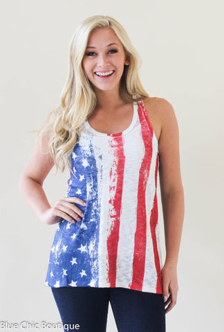 Stars and Stripes Racerback Tank Top - Blue Chic Boutique  - 6