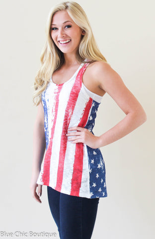 Stars and Stripes Racerback Tank Top - Blue Chic Boutique  - 1