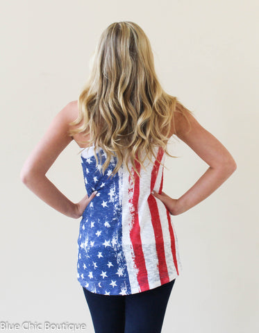 Stars and Stripes Racerback Tank Top - Blue Chic Boutique  - 7