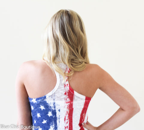 Stars and Stripes Racerback Tank Top - Blue Chic Boutique  - 8