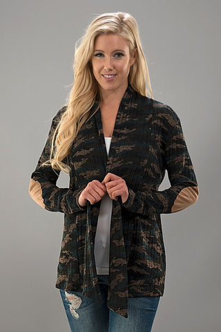 Camo Ribbed Cardigan - Blue Chic Boutique  - 1