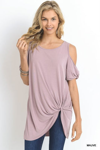 Cold Shoulder Modal Fabric Top - Mauve