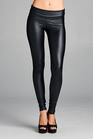 High Waisted Pleather Leggings - Black - Blue Chic Boutique  - 3