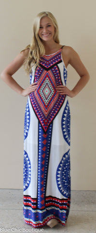 Summer Maxi Dress  - White and Royal - Blue Chic Boutique  - 1