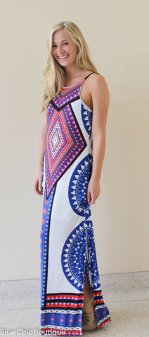 Summer Maxi Dress  - White and Royal - Blue Chic Boutique  - 6