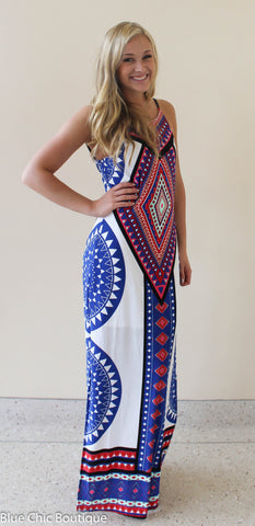 Summer Maxi Dress  - White and Royal - Blue Chic Boutique  - 9