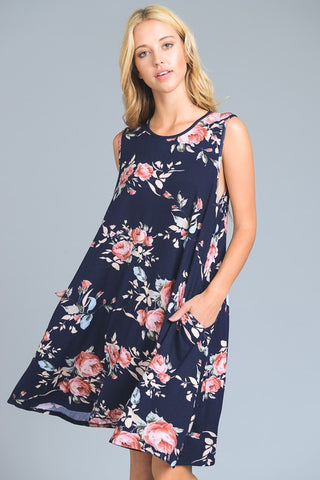 Floral Swing Trapeze Dress - Navy