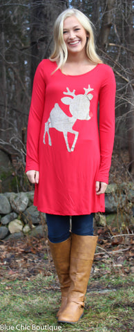 Glitter Rudolf the Reindeer Tunic Top - Red - Blue Chic Boutique  - 5