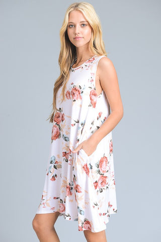 Floral Swing Trapeze Dress - Ivory