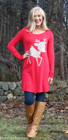 Glitter Rudolf the Reindeer Tunic Top - Red - Blue Chic Boutique  - 1