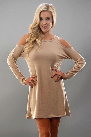 Simple Cold Shoulder Dress - Taupe - Blue Chic Boutique  - 2