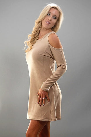 Simple Cold Shoulder Dress - Taupe - Blue Chic Boutique  - 1