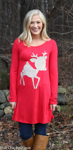 Glitter Rudolf the Reindeer Tunic Top - Red - Blue Chic Boutique  - 4
