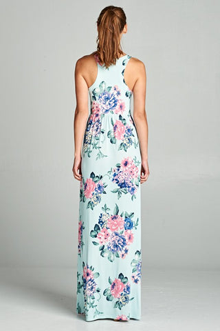 Garden Party Maxi Dress - Mint Blooms
