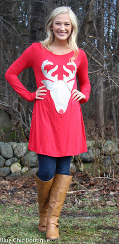 Glitter Reindeer Tunic - Red - Blue Chic Boutique  - 2