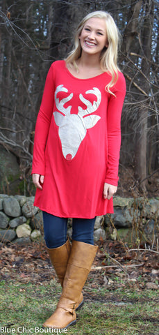 Glitter Reindeer Tunic - Red - Blue Chic Boutique  - 1