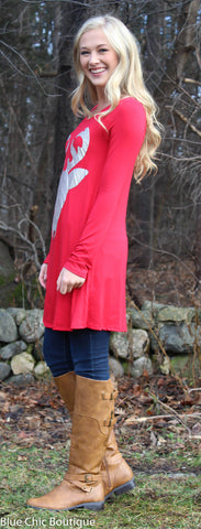 Glitter Reindeer Tunic - Red - Blue Chic Boutique  - 3