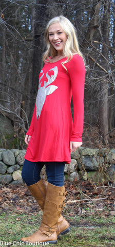 Glitter Reindeer Tunic - Red - Blue Chic Boutique  - 4