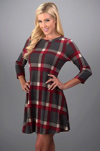 Pretty in Plaid Winter Dress - Red and Gray - Blue Chic Boutique  - 1