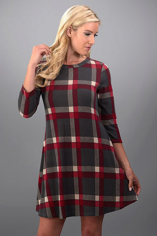 Pretty in Plaid Winter Dress - Red and Gray - Blue Chic Boutique  - 2