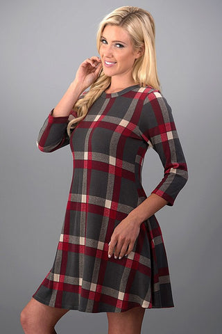 Pretty in Plaid Winter Dress - Red and Gray - Blue Chic Boutique  - 3