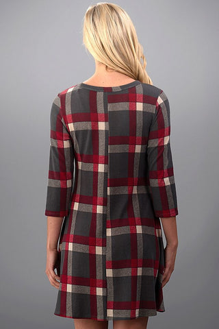 Pretty in Plaid Winter Dress - Red and Gray - Blue Chic Boutique  - 4