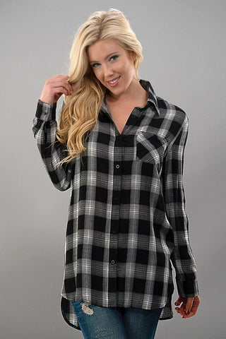 Casual Plaid Top - Black and White - Blue Chic Boutique  - 1
