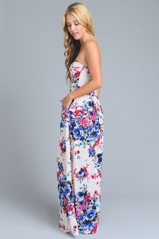 Summer Stunner Strapless Maxi Dress - Ivory