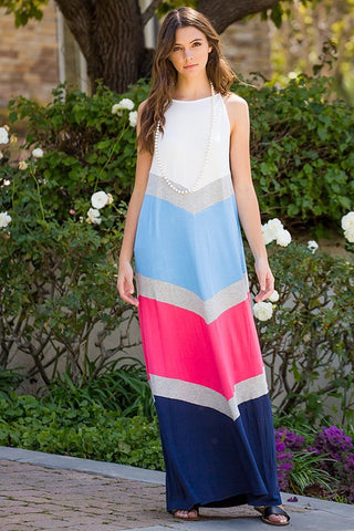 Party on the Terrace Color Block Maxi Dress
