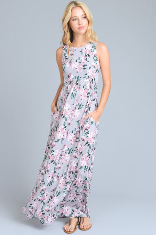 Floral Feeling Maxi Dress - Grey
