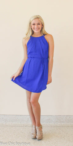 Halter Dress - Royal - Blue Chic Boutique  - 3