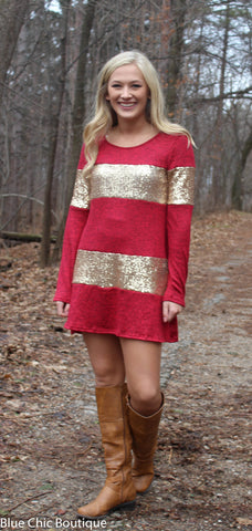 Celebrate in Sequins Dress - Red - Blue Chic Boutique  - 2