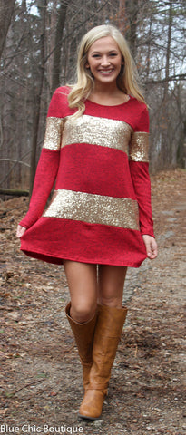 Celebrate in Sequins Dress - Red - Blue Chic Boutique  - 4