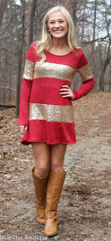Celebrate in Sequins Dress - Red - Blue Chic Boutique  - 5