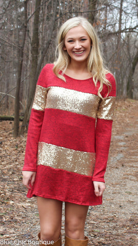 Celebrate in Sequins Dress - Red - Blue Chic Boutique  - 1