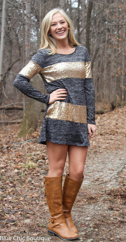 Celebrate in Sequins Dress - Light  Grey - Blue Chic Boutique  - 3