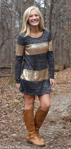 Celebrate in Sequins Dress - Light  Grey - Blue Chic Boutique  - 4